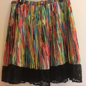 Colorful skirt with black lace trim